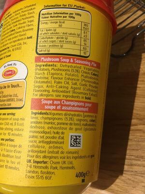 Mushroom soup & seasoning mix - Ingrediënten - fr