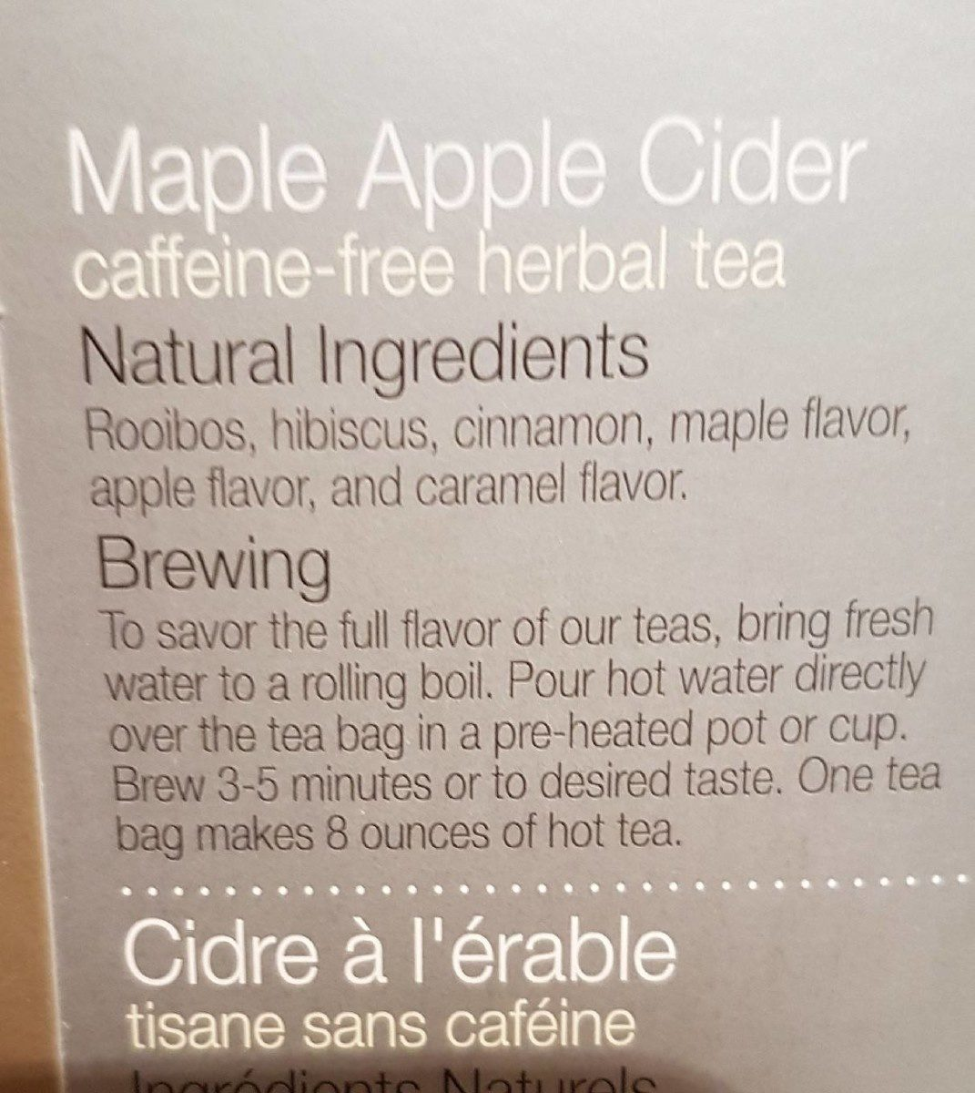 Cidre à l'érable tisane - Ingrédients - fr
