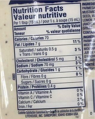 Litehouse sauce cesar - Informations nutritionnelles - am