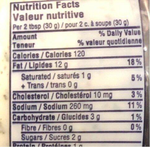 Trempette epinards - Informations nutritionnelles - fr