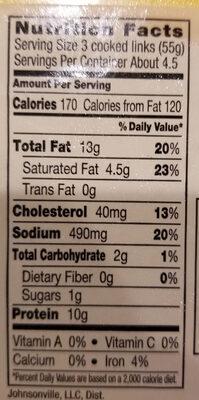 Breakfast sausage - Nutrition facts - en
