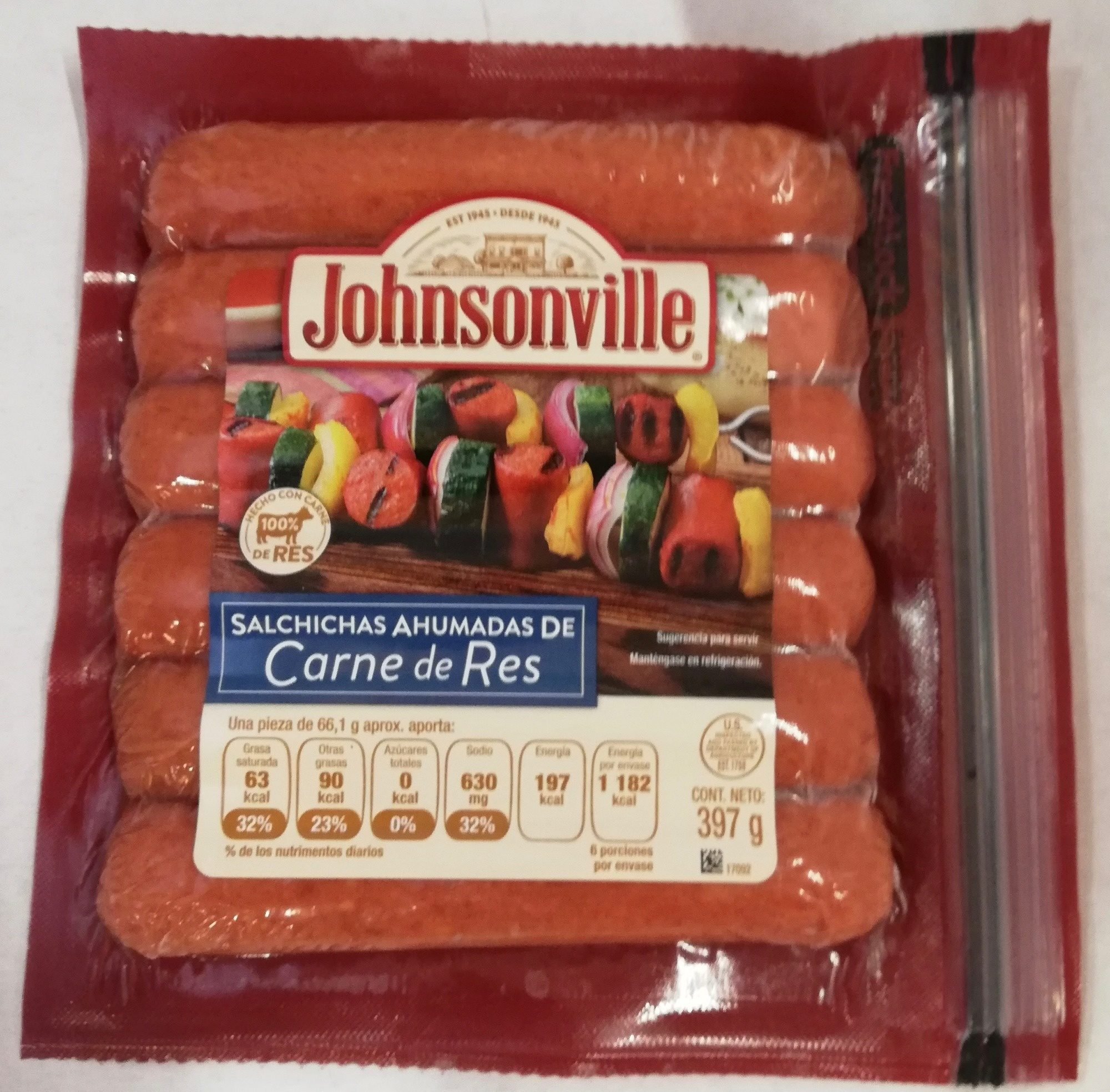 Johnsonville salchichas ahumadas de carne de res - Product - es