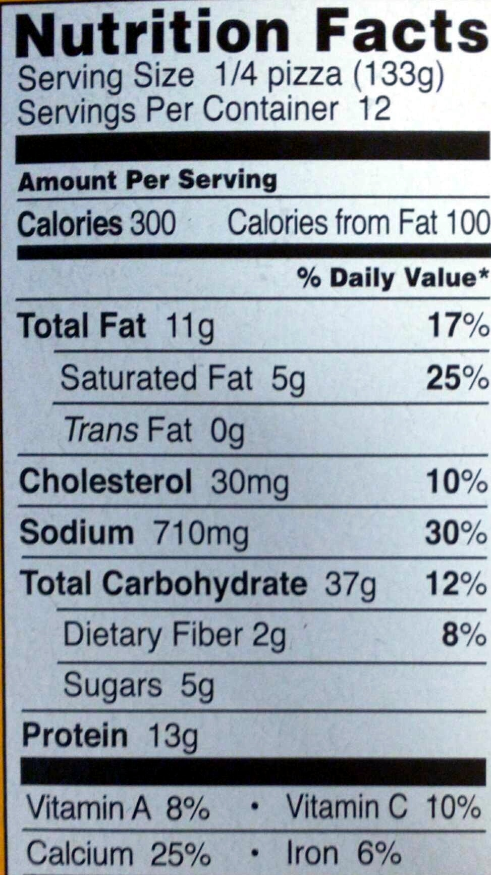 Thin Crust Cheese Pizza - Nutrition facts