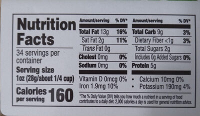 Raw Whole Cashews - Valori nutrizionali - en