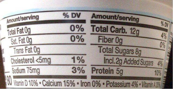 Light vanilla blended nonfat yogurt - Nutrition facts - en