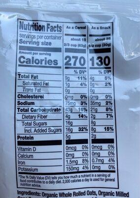 Organic vanilla & almonds whole grain oat clusters - Nutrition facts - en