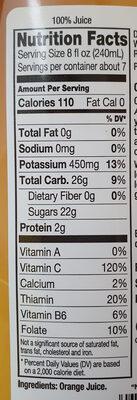 Premium 100% orange juice - Nutrition facts