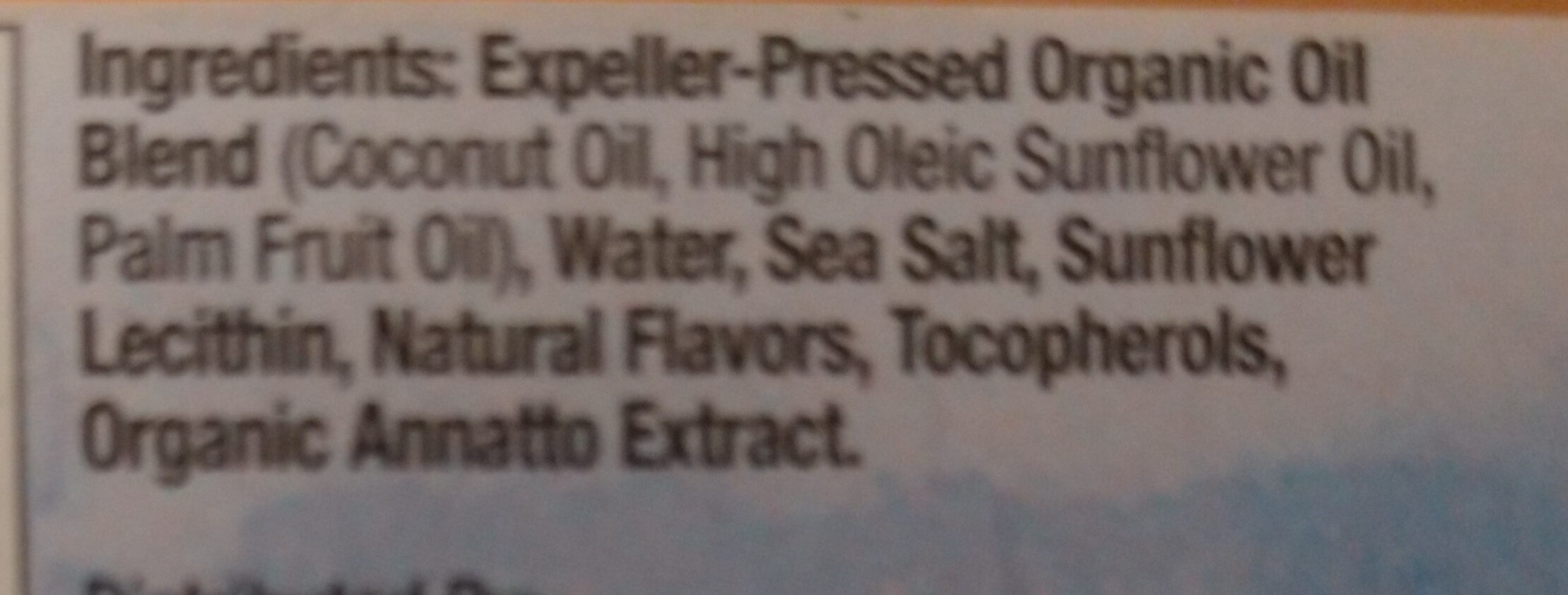 Organic Plant Based Buttery Spread Stick - Ingredients - en