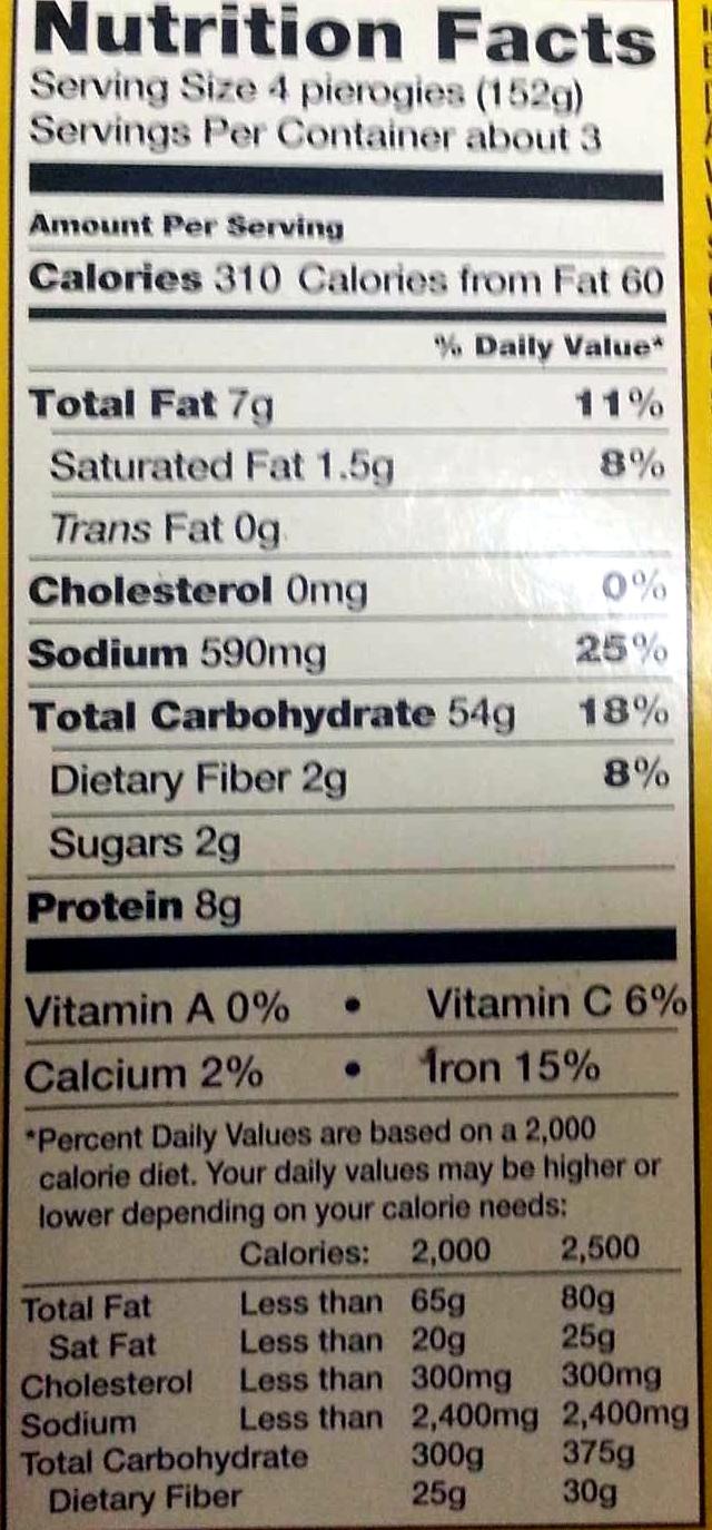 White Cheddar Pierogies - Informations nutritionnelles - en