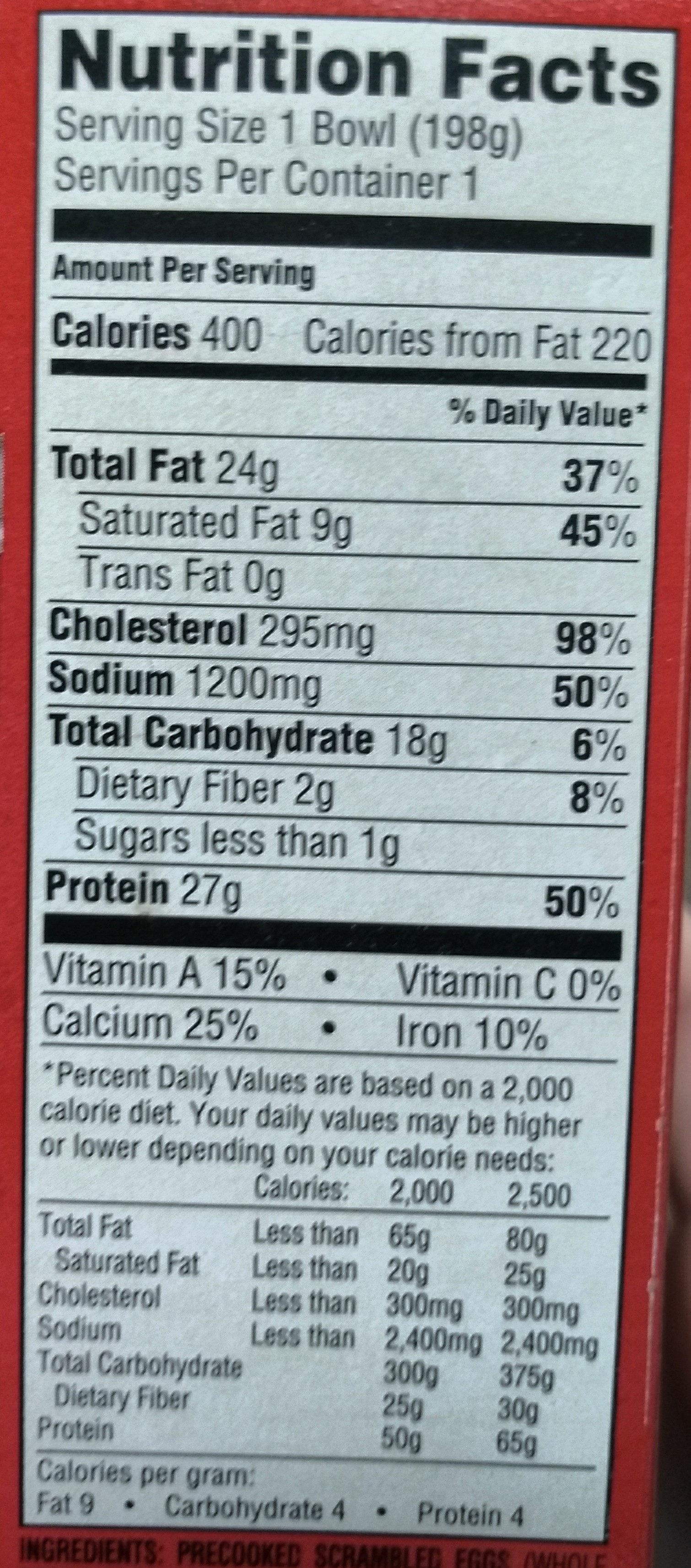 Jimmy dean, breakfast bowl bacon - Nutrition facts - en
