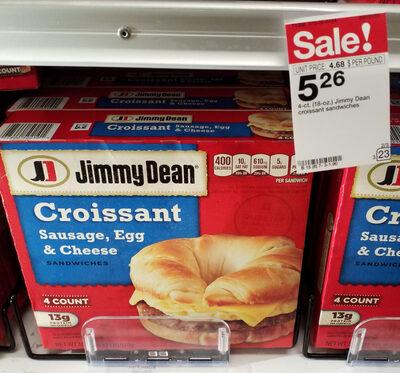 Jimmy dean, sausage, egg & cheese croissant sandwiches - Product - en