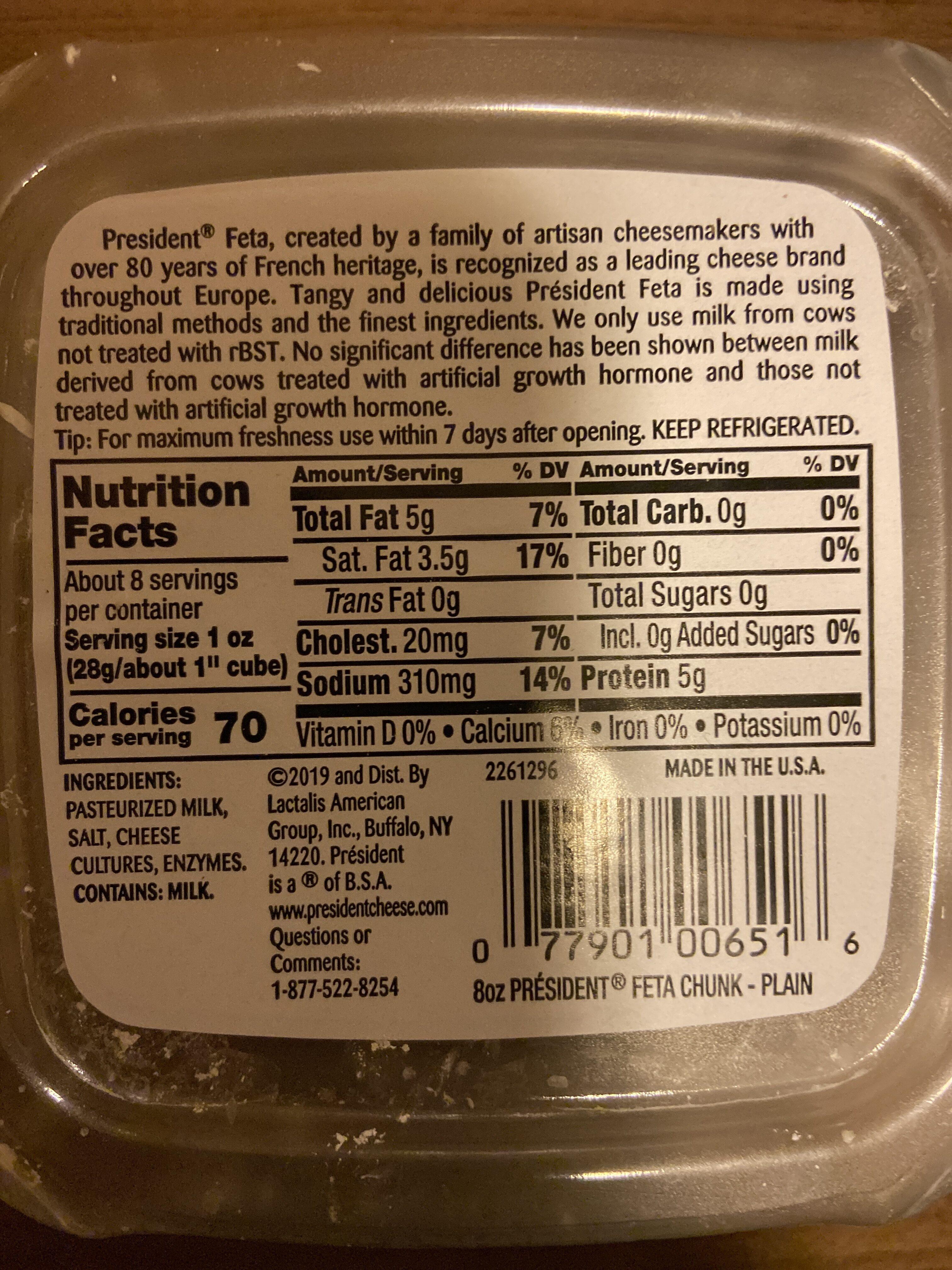 President, feta chunk - Nutrition facts - en