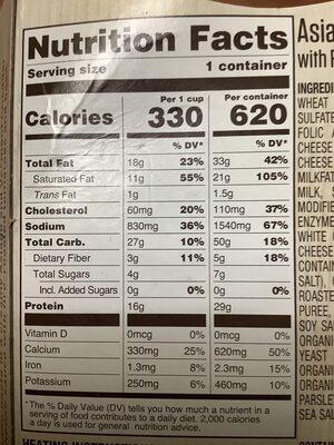 Asiago mac & cheese - Nutrition facts - en