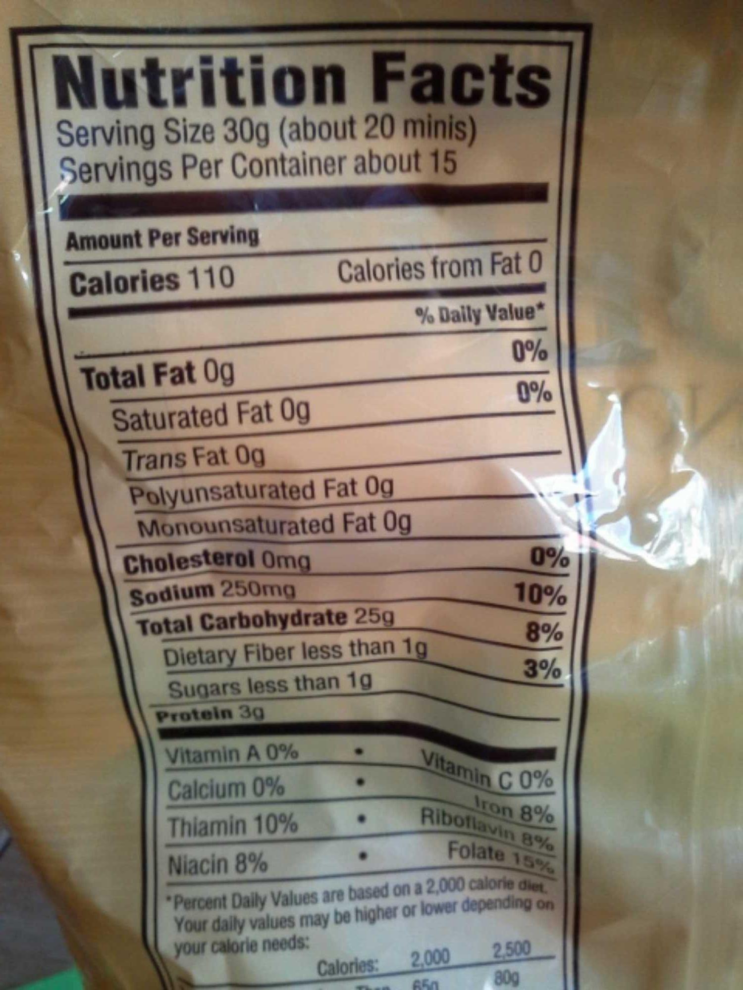 Snyder's of hanover, mini pretzels - Nutrition facts - en