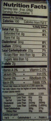 Mini Pretzels - Nutrition facts