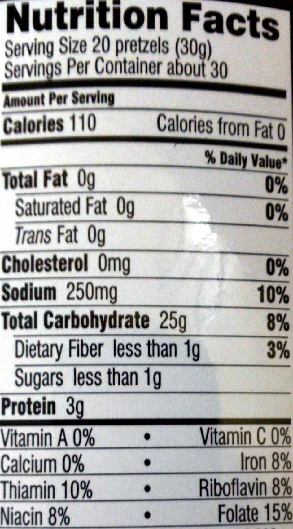 Mini pretzels - Informations nutritionnelles - en