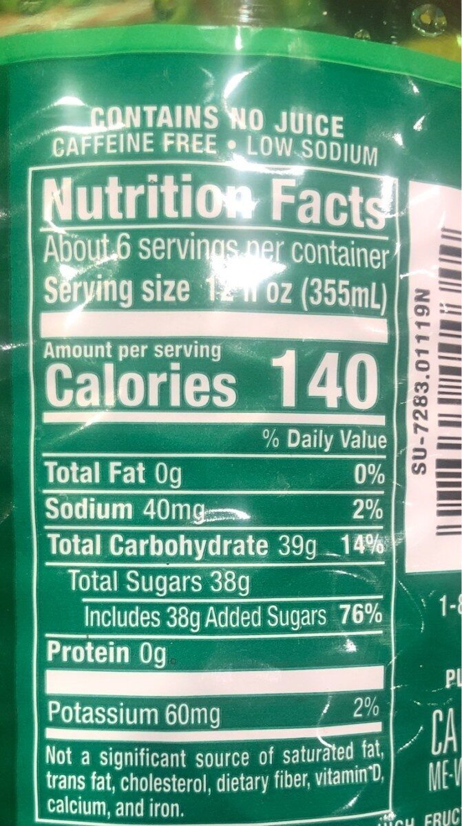 Caffeine Free Naturally Flavored Soda - Nutrition facts