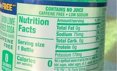7 Up Lemon Lime Soda Diet - 6 CT - Nutrition facts - en