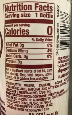 Diet dr pepper - Nutrition facts - en