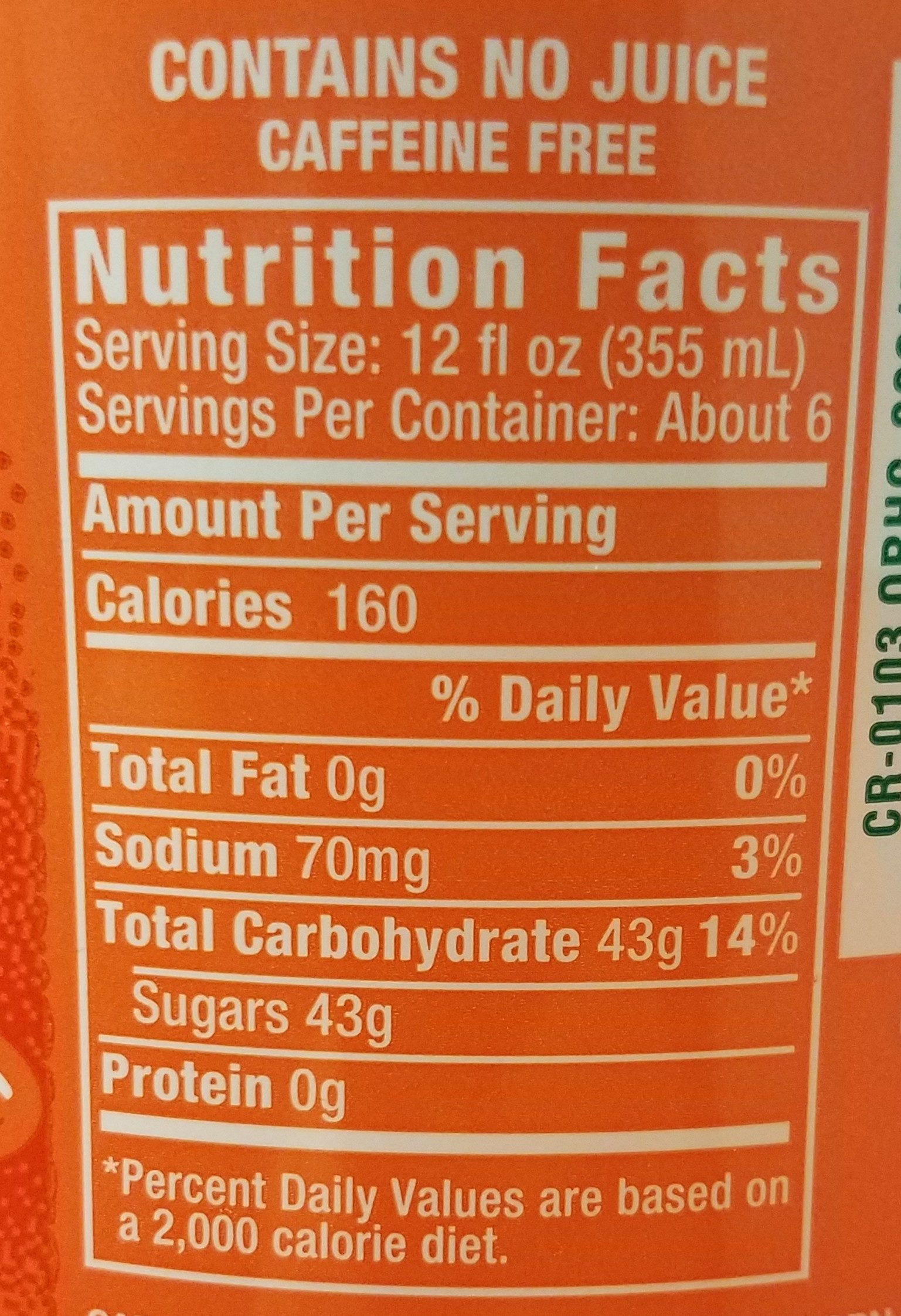 Crush, soda, orange, orange - Nutrition facts - en