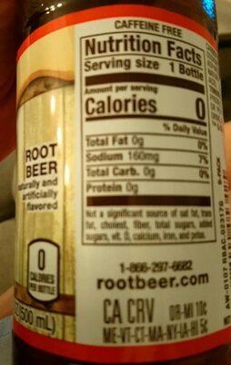 Root beer - Voedigswaarden