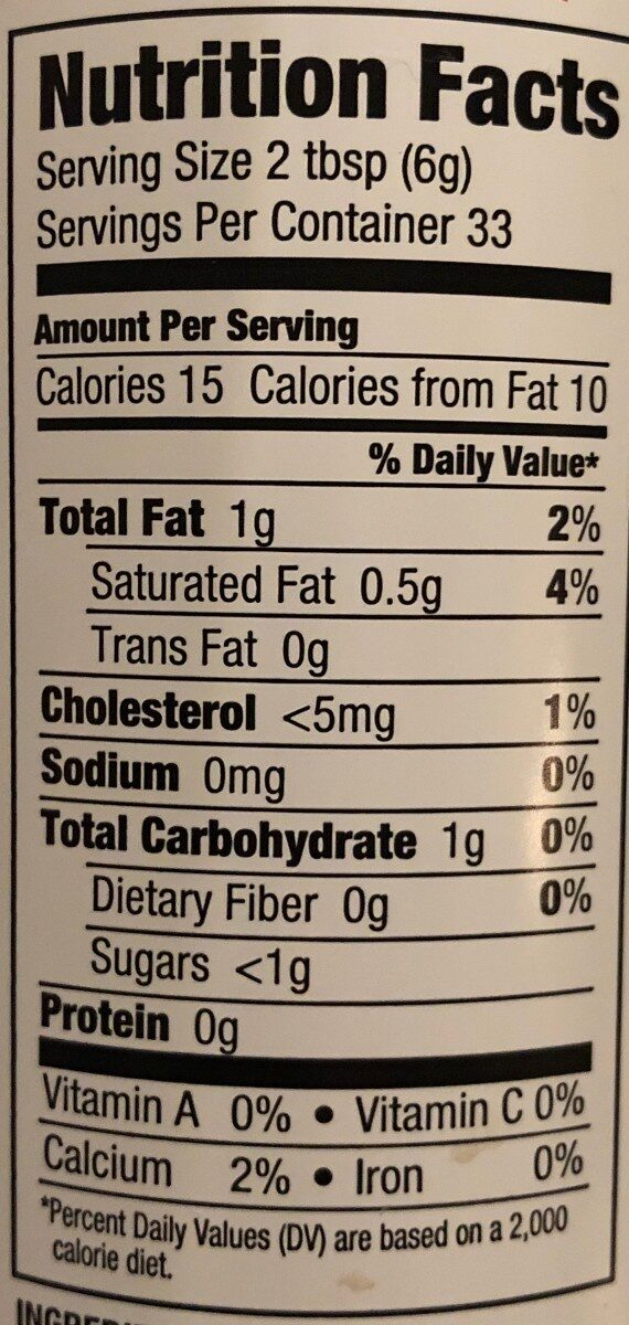 Sweetened Light Whipped Cream - Nutrition facts - en