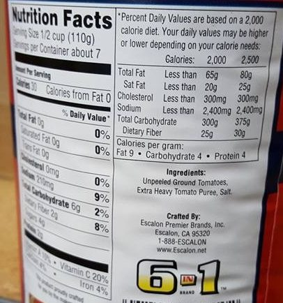 All purpose ground tomatoes - Nutrition facts - en