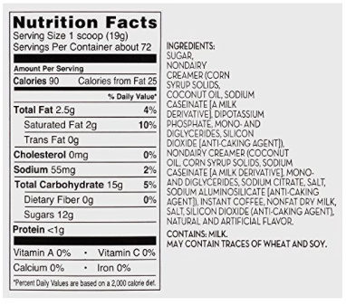 Daily Chef Cappuccino Beverage Mix Coffee, French Vanilla - Nutrition facts