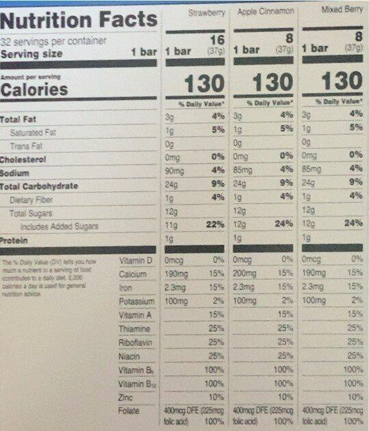 Fruit & grain bars - Valori nutrizionali - en