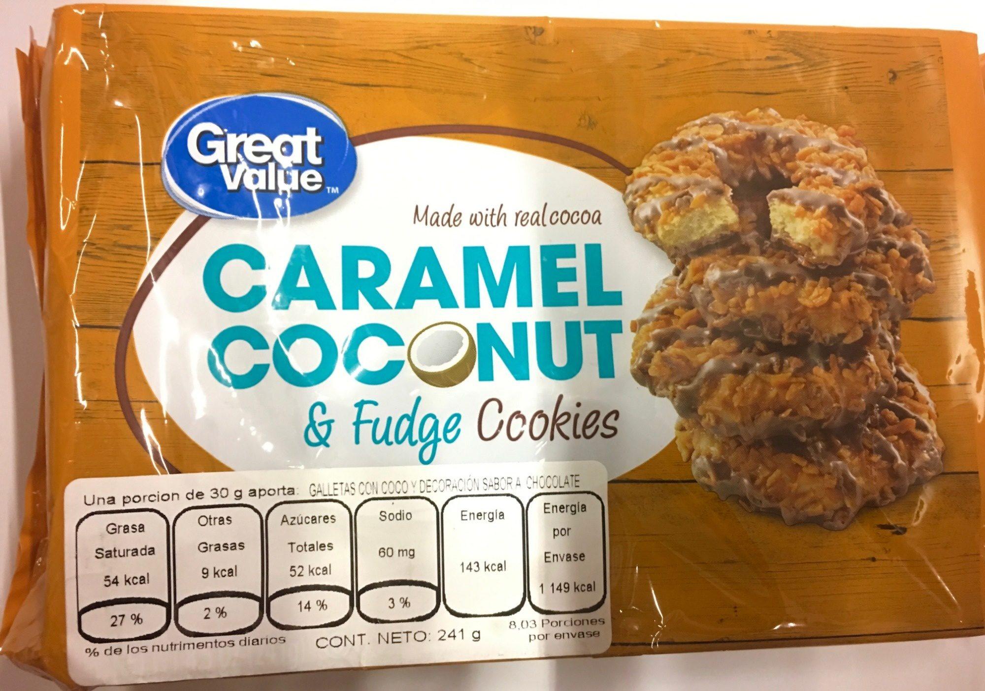 Caramel coconut & fudge cookies - Product - es