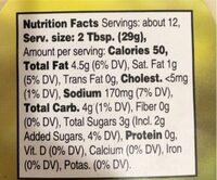 Tartar Sauce - Voedingswaarden - en