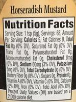 Mostaza de rábano picante Great Value - Nutrition facts
