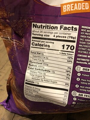 Chicken nuggets - Informations nutritionnelles - en