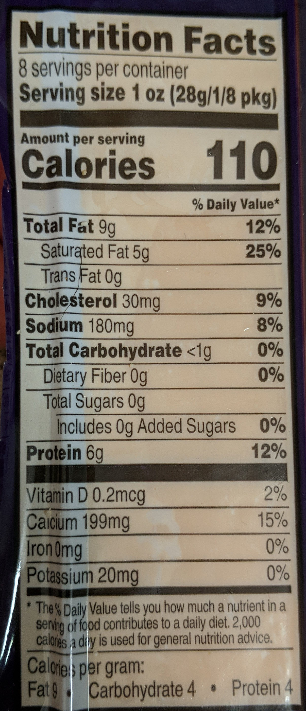 Mild Cheddar Cheese - Nutrition facts