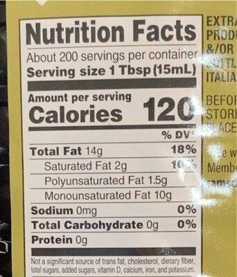 Extra virgin olive oil - Informations nutritionnelles - en