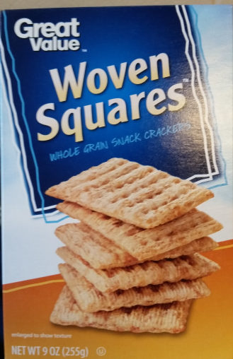 Great value, woven squares, whole grain snack crackers - Produit - en