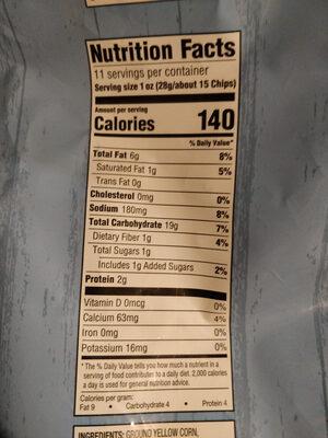 Glacier Ranch tortilla chips - Nutrition facts