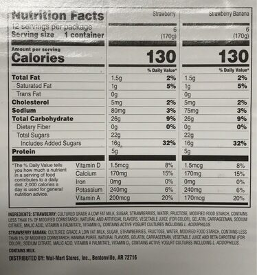 Original Strawberry - Strawberry Banana Lowfat Yogurt - Nutrition facts