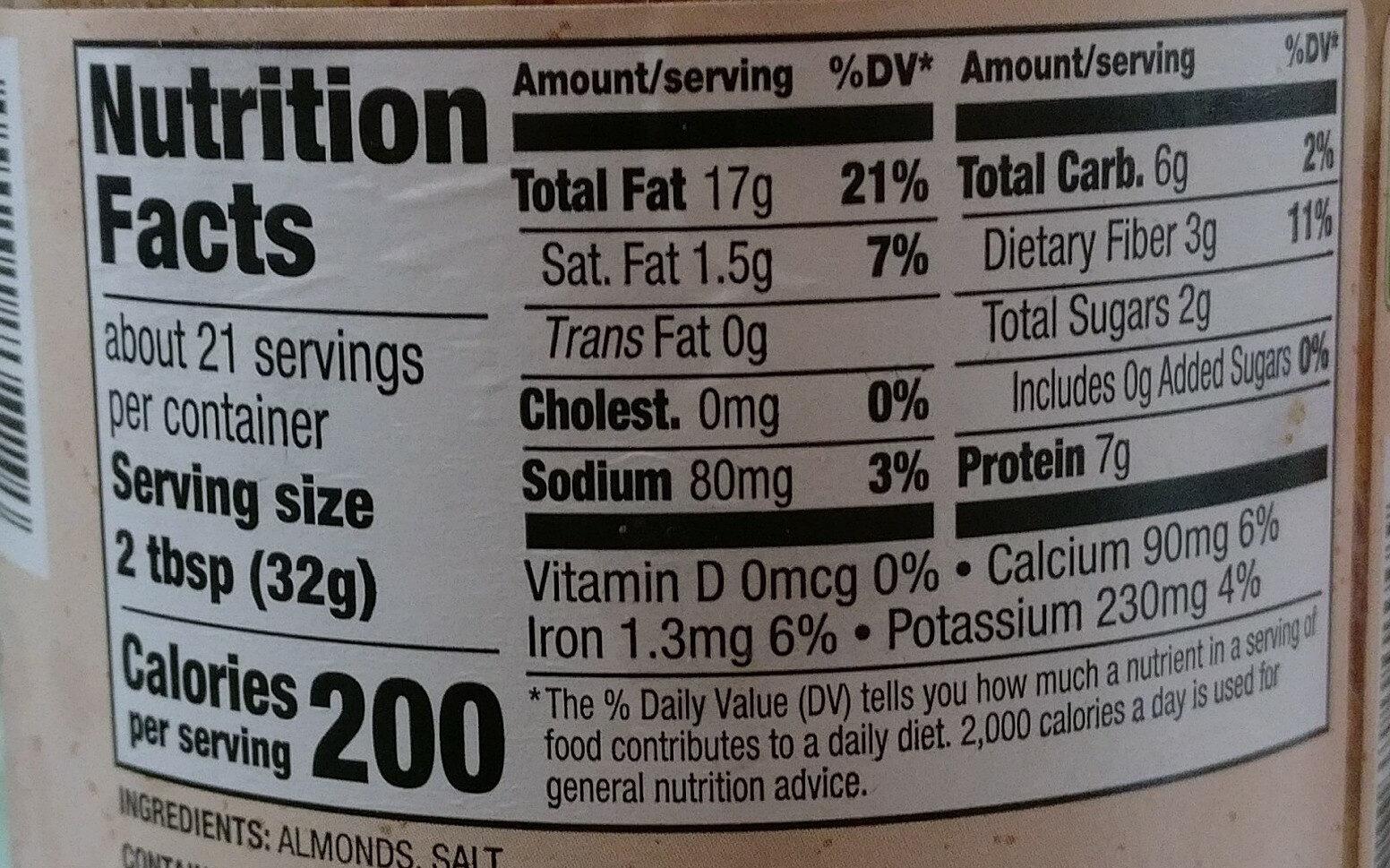 Creamy almond butter - Nutrition facts - en