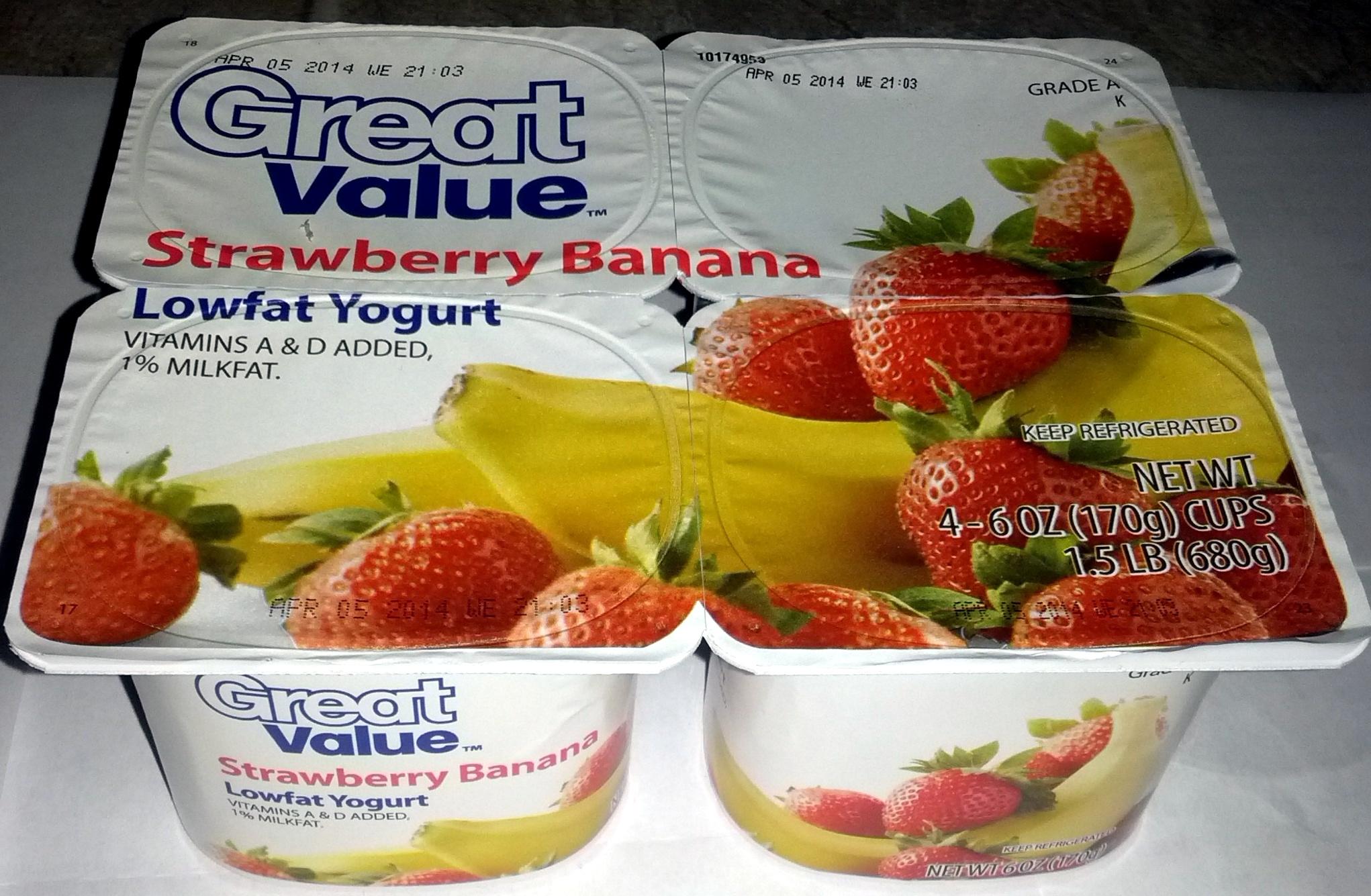 Strawberry Banana Lowfat Yogurt - Great Value