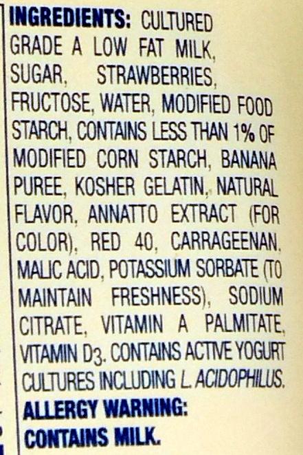 Lowfat yogurt - Ingredients - en