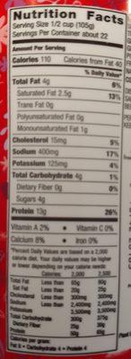 Cottage Cheese - Informations nutritionnelles - en