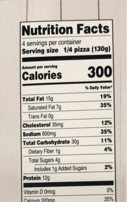 Thin crust spinach alfredo pizza - Nutrition facts - en