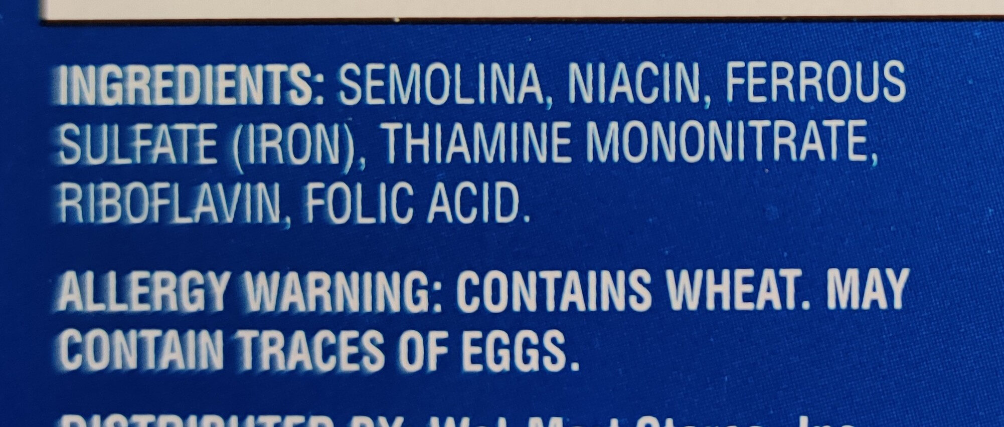 Enriched spaghetti product - Ingredients - en