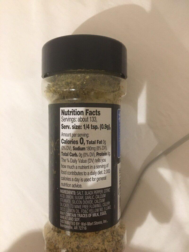 Lemon & pepper seasoning - Información nutricional - es