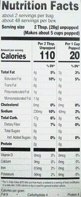 Microwave popcorn - Informations nutritionnelles - en