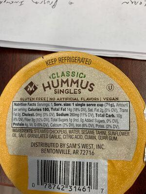 Classic hummus singles, classic - Ingredients - en