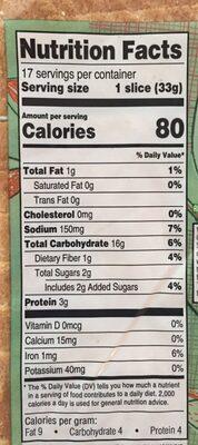 Wheat Bread - Nutrition facts - en