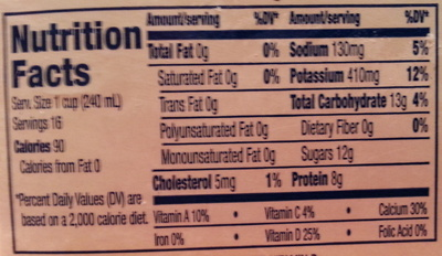 Great value, fat free milk - Nutrition facts - en