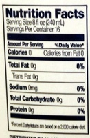 Distilled Water - Nutrition facts - en